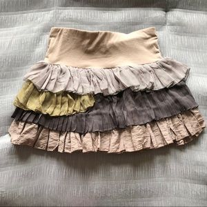 Ruffled Mini Skirt Hippie Size Small Elastic Waist